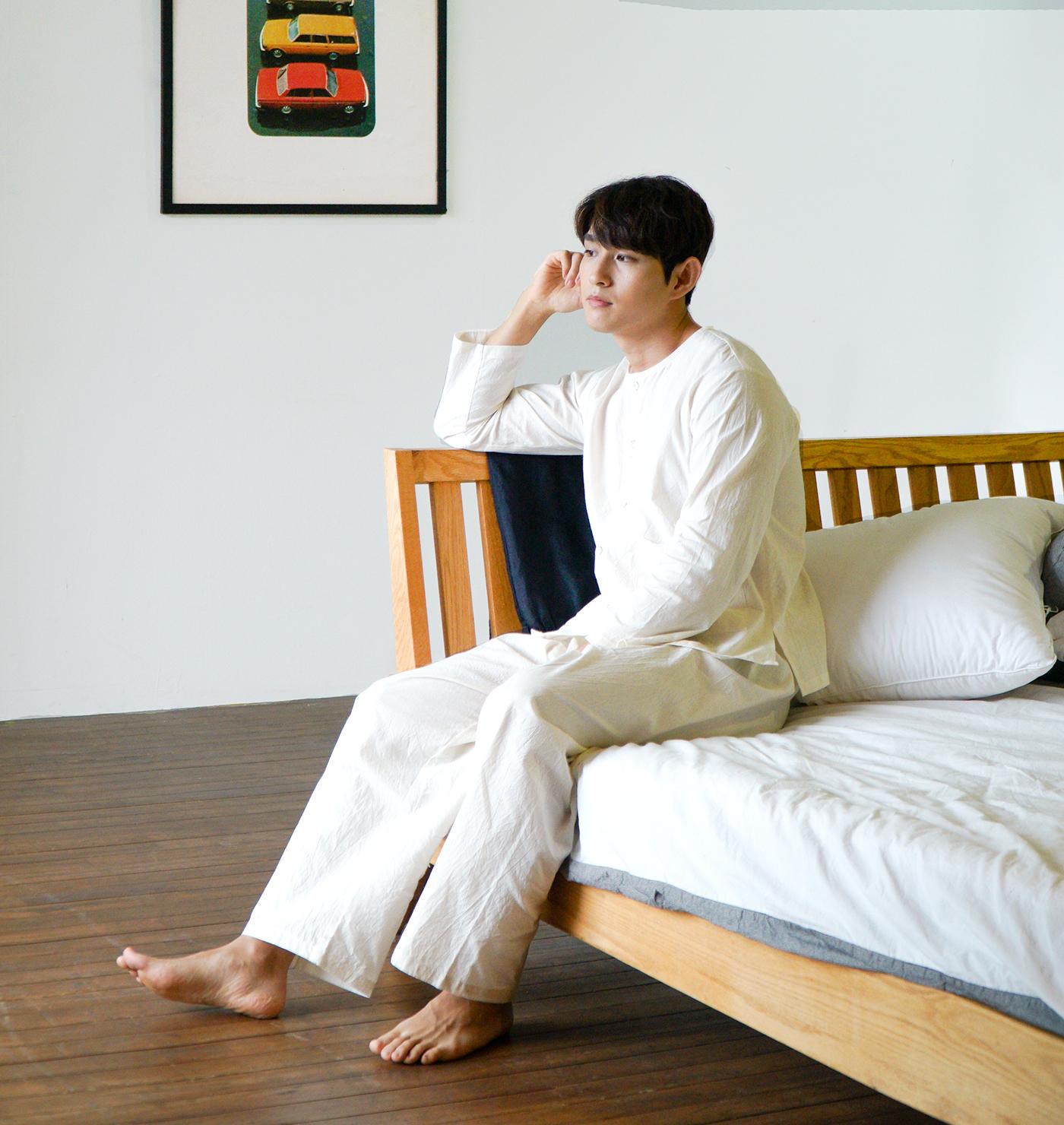 남성 광목잠옷 실내복 긴팔 상하의(아이보리) 상세이미지1