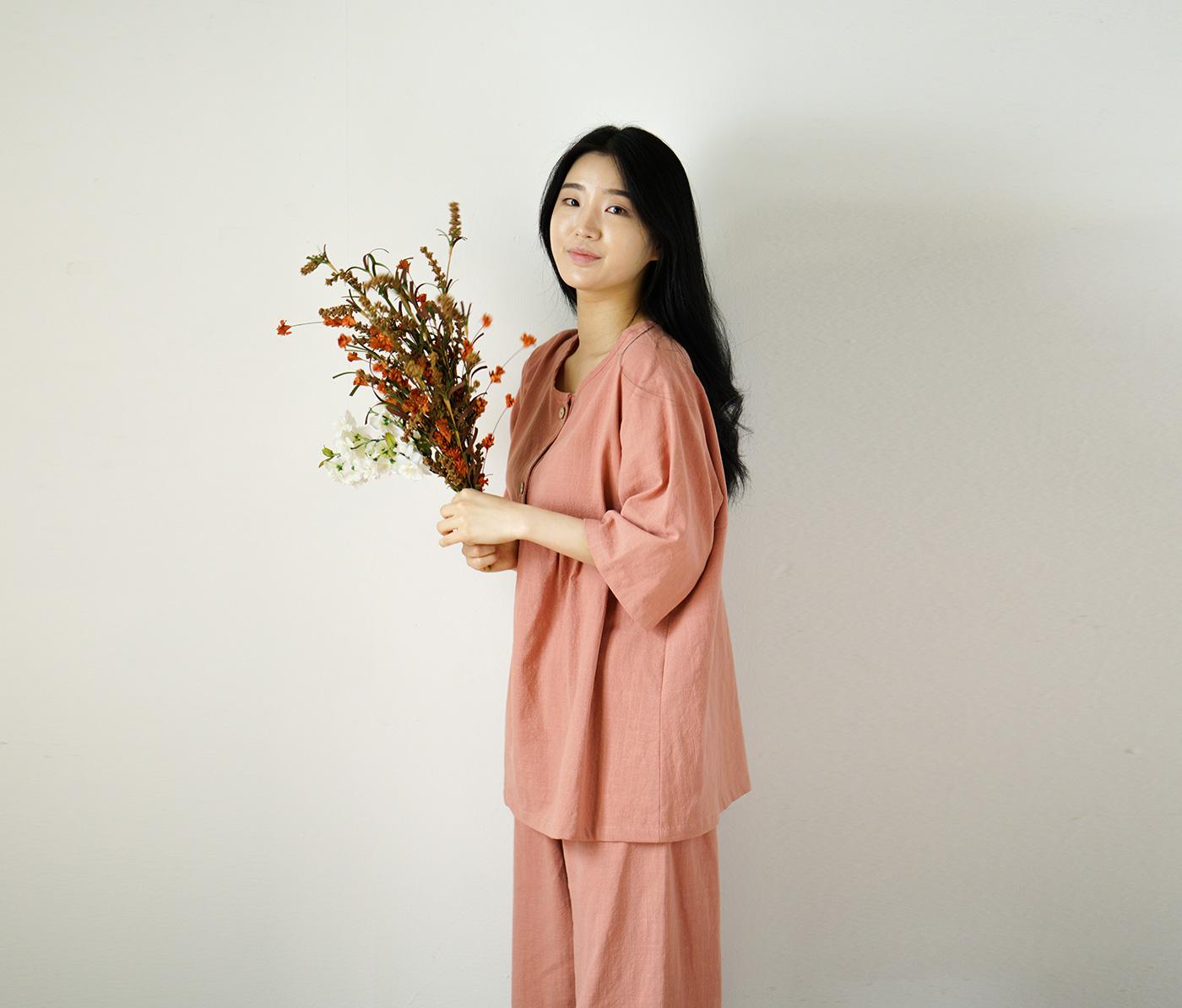 남성 광목잠옷 실내복 긴팔 상하의(아이보리) 상세이미지3