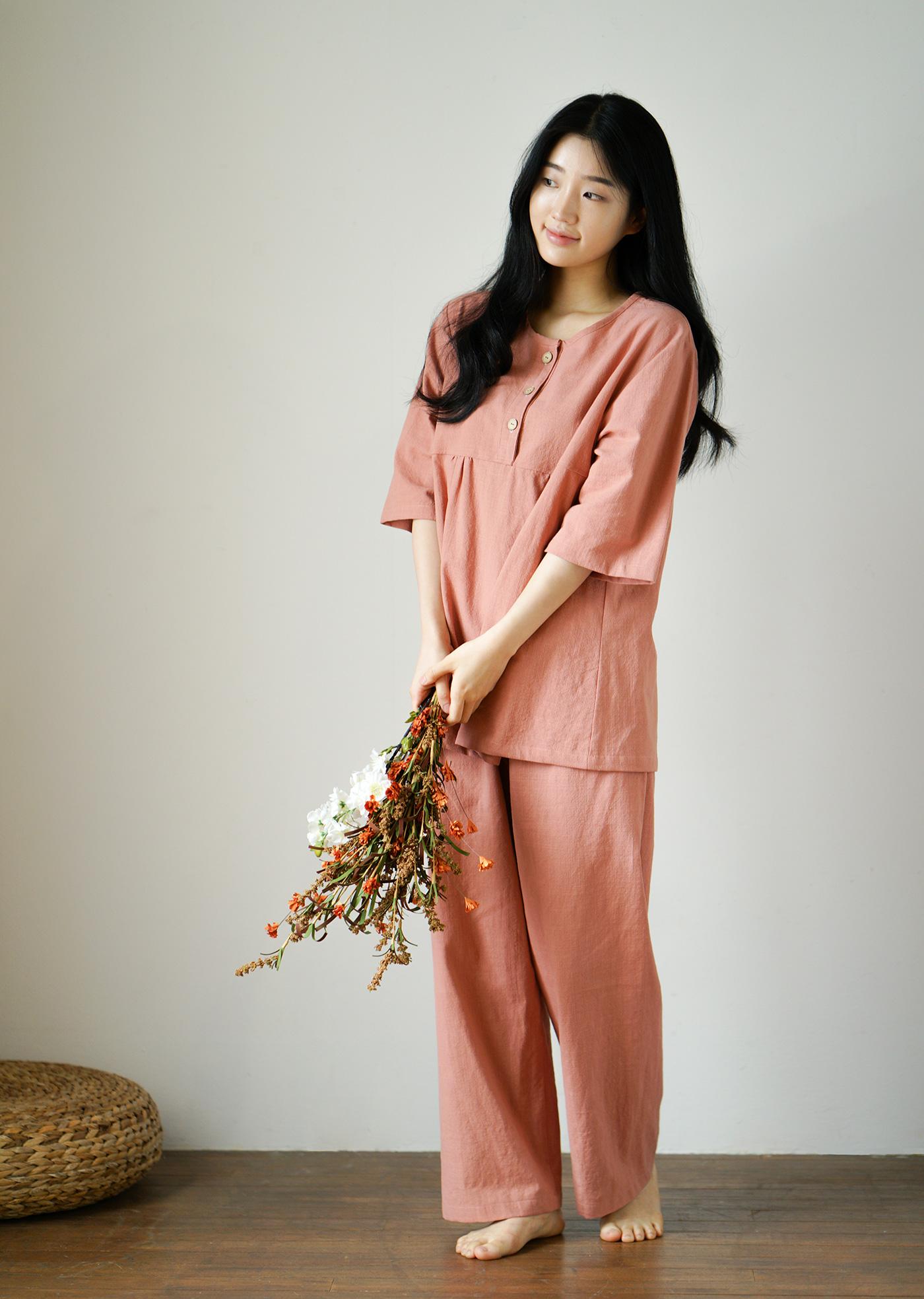 여성 광목잠옷 실내복 긴팔 상하의(핑크) 상세이미지4
