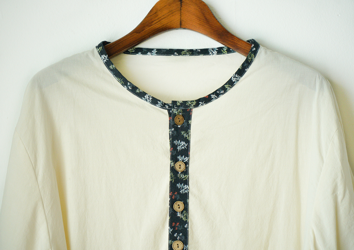 남성 광목잠옷 실내복 상하의(수수한 들꽃-블루) 상세이미지2