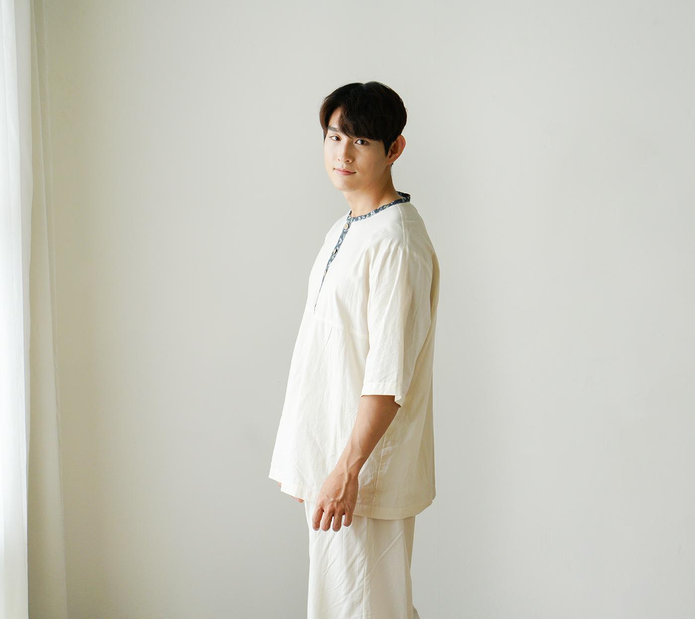 남성 광목잠옷 실내복 상하의(수수한 들꽃-블루) 상세이미지3