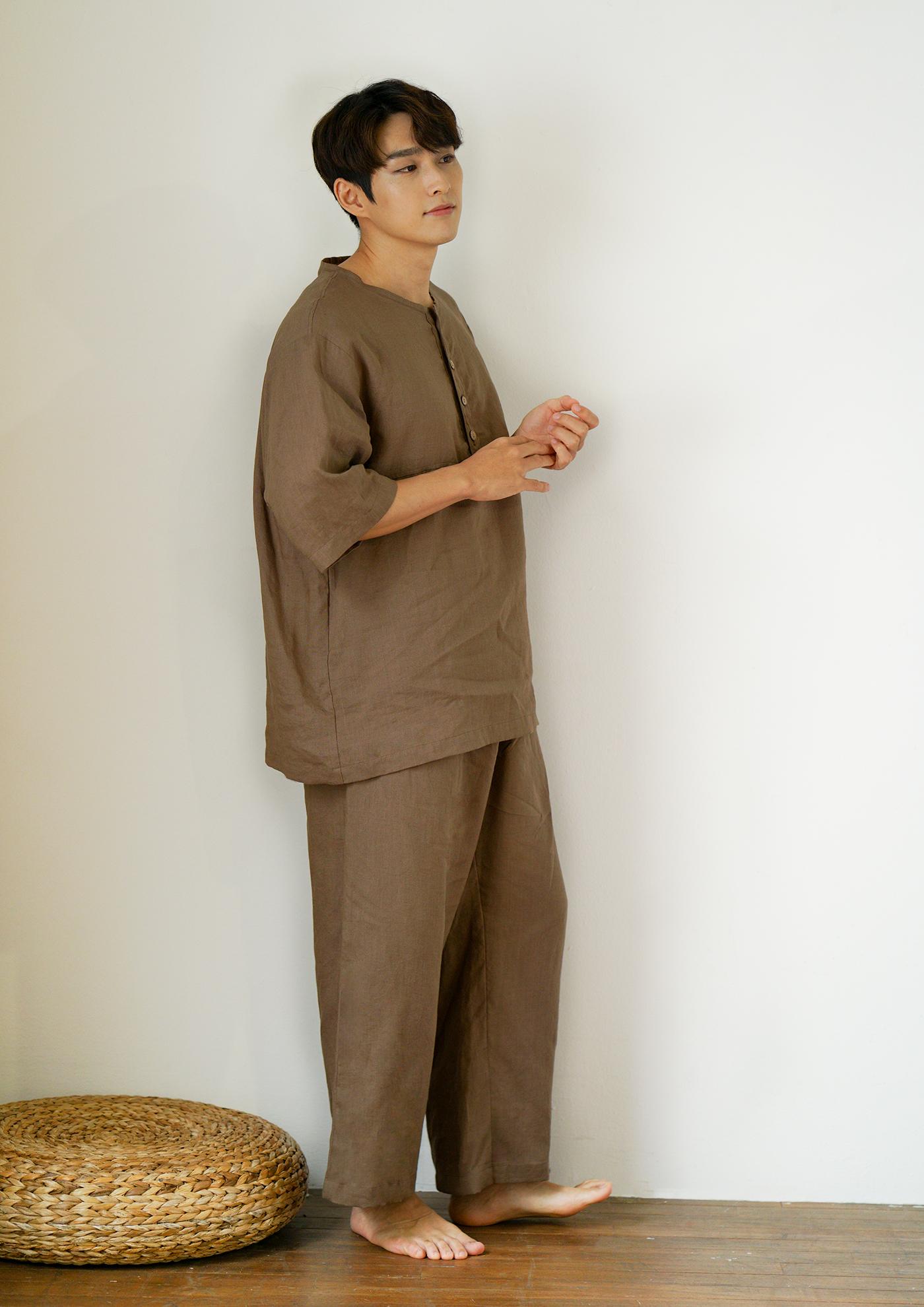 남성 광목잠옷 실내복 상하의(브라운) 상세이미지1