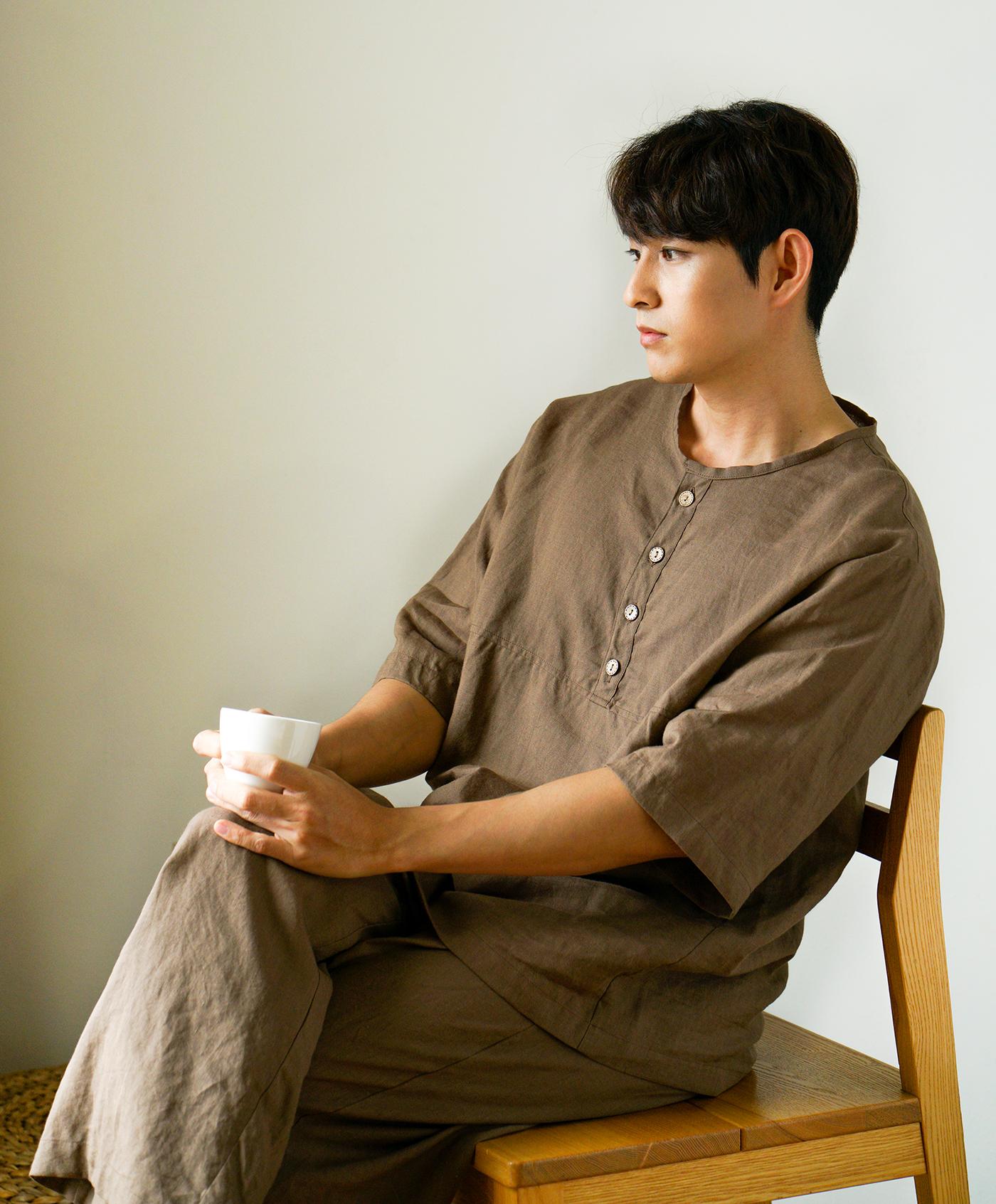 남성 광목잠옷 실내복 상하의(브라운) 상세이미지2