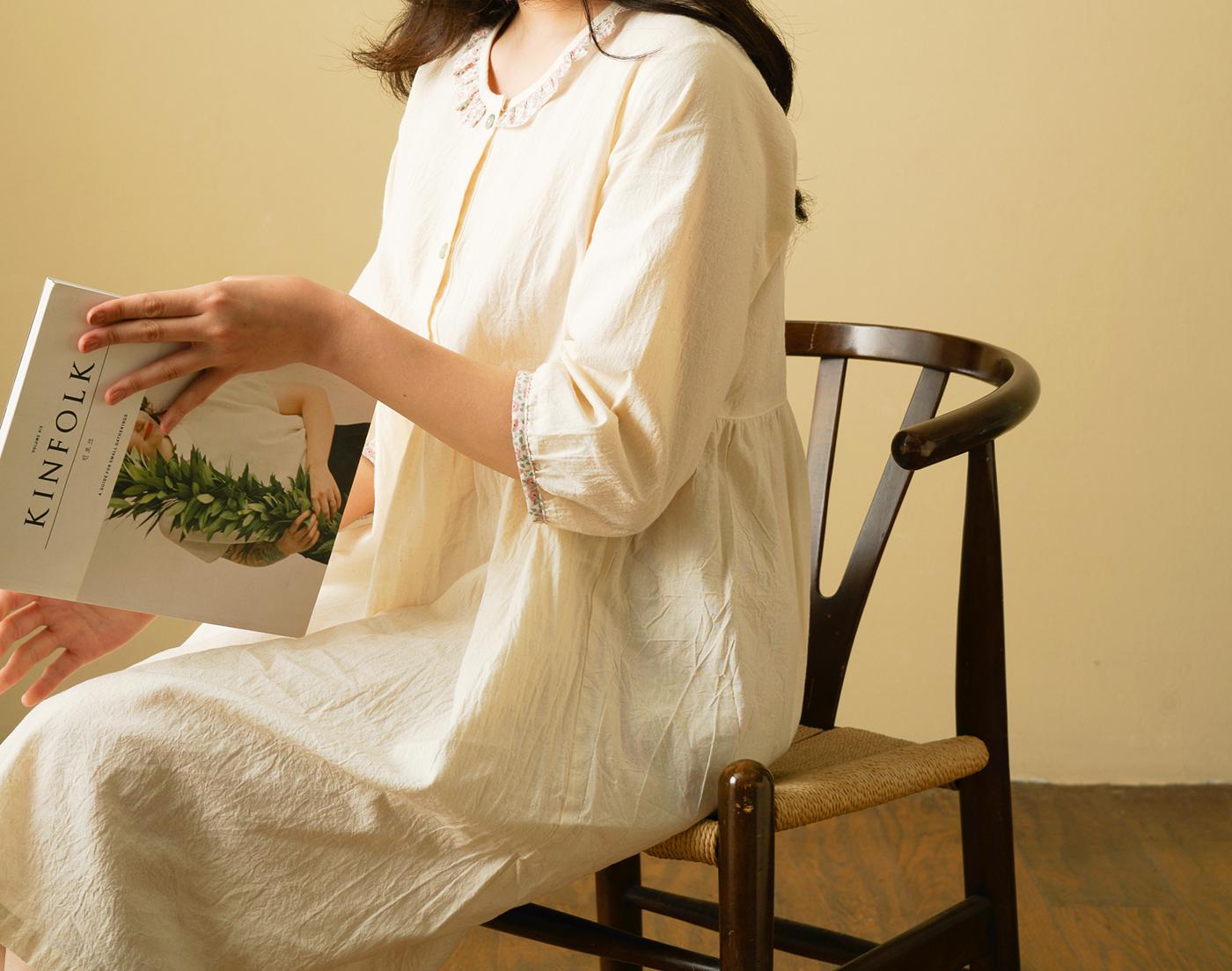 핸드메이드 광목 여성 실내복 긴팔 원피스/100% 손으로 만든 여성 실내복(원피스) 상세이미지4