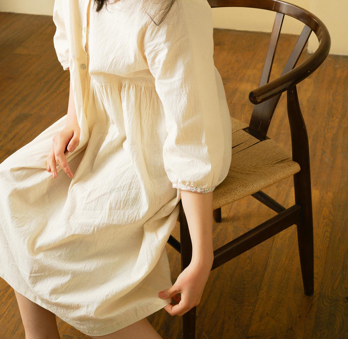 핸드메이드 광목 여성 실내복 긴팔 원피스/100% 손으로 만든 여성 실내복(원피스) 상세이미지5