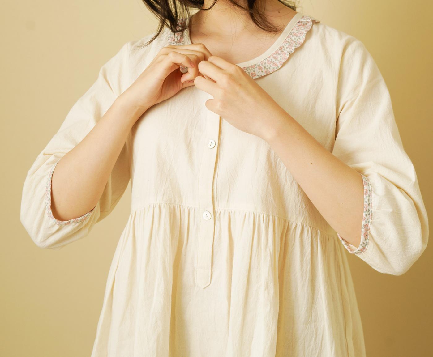 핸드메이드 광목 여성 실내복 긴팔 원피스/100% 손으로 만든 여성 실내복(원피스) 상세이미지6
