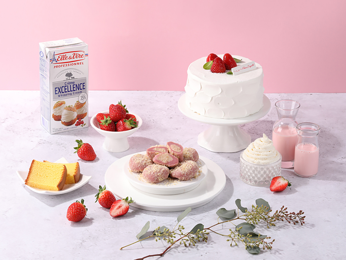 굳지 않는 딸기 생크림 케익 모찌 찹쌀떡 (15입) 상세이미지1