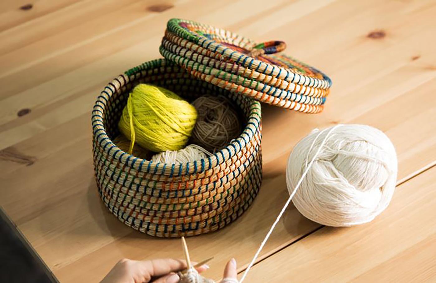 미니 바스켓/아시아 여성 생산자가 직접 꼬아 만든 튼튼한 뚜껑 바스켓(블루) 상세이미지2