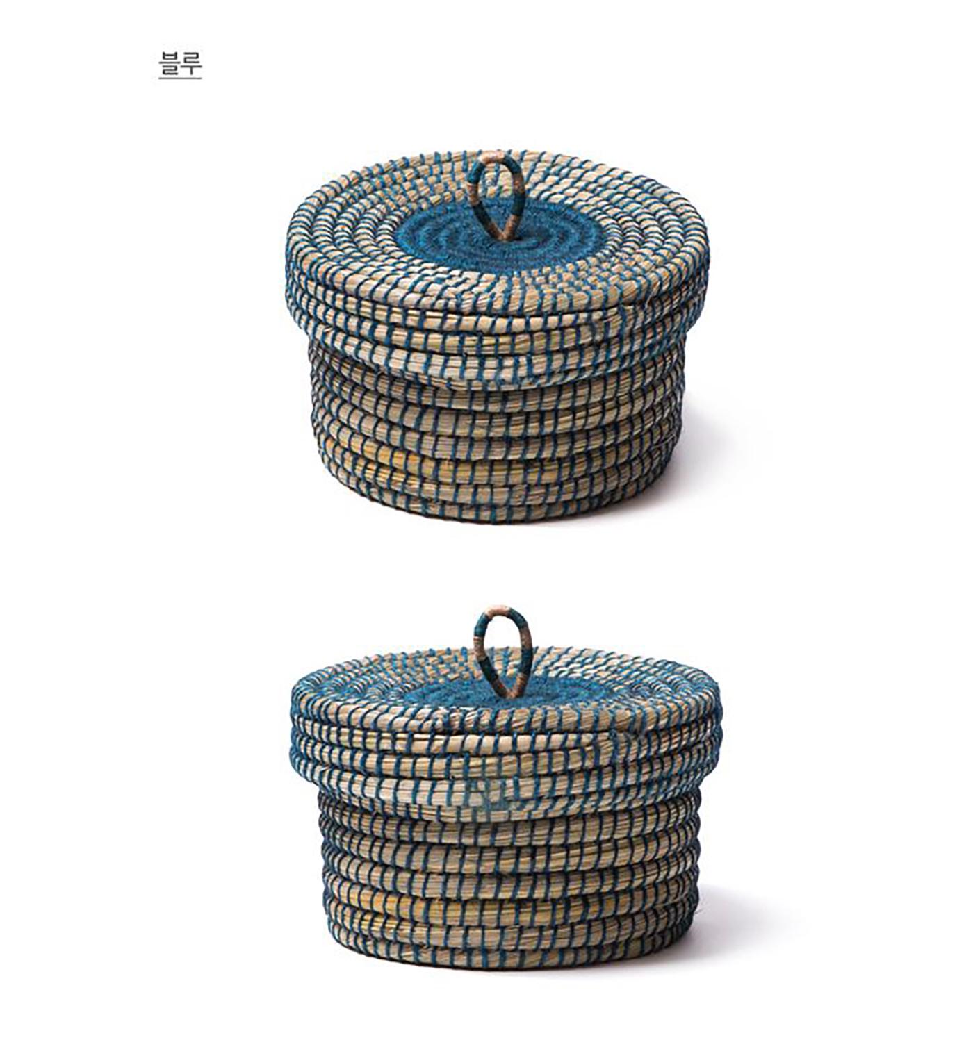 미니 바스켓/아시아 여성 생산자가 직접 꼬아 만든 튼튼한 뚜껑 바스켓(블루) 상세이미지5