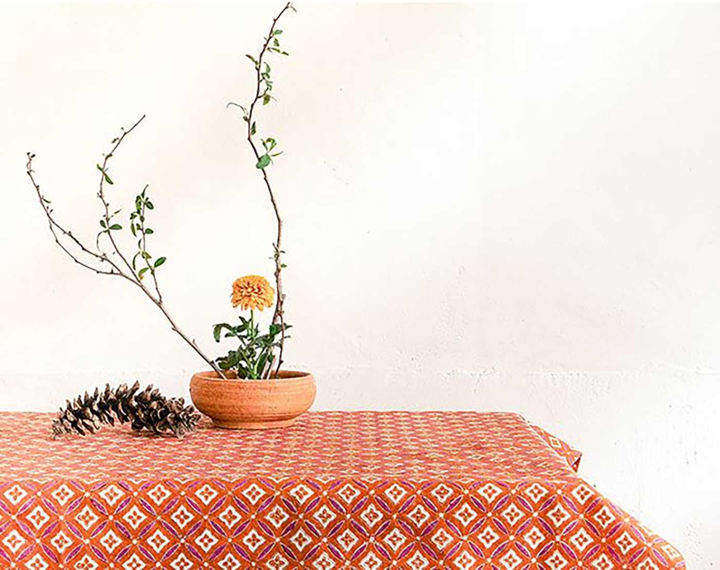 에스닉 블록프린트 테이블보A(오렌지)/생동감 넘치는 컬러의 아름다운 식탁 테이블보 상세이미지1