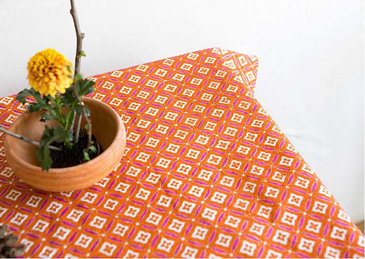 에스닉 블록프린트 테이블보A(오렌지)/생동감 넘치는 컬러의 아름다운 식탁 테이블보 상세이미지2