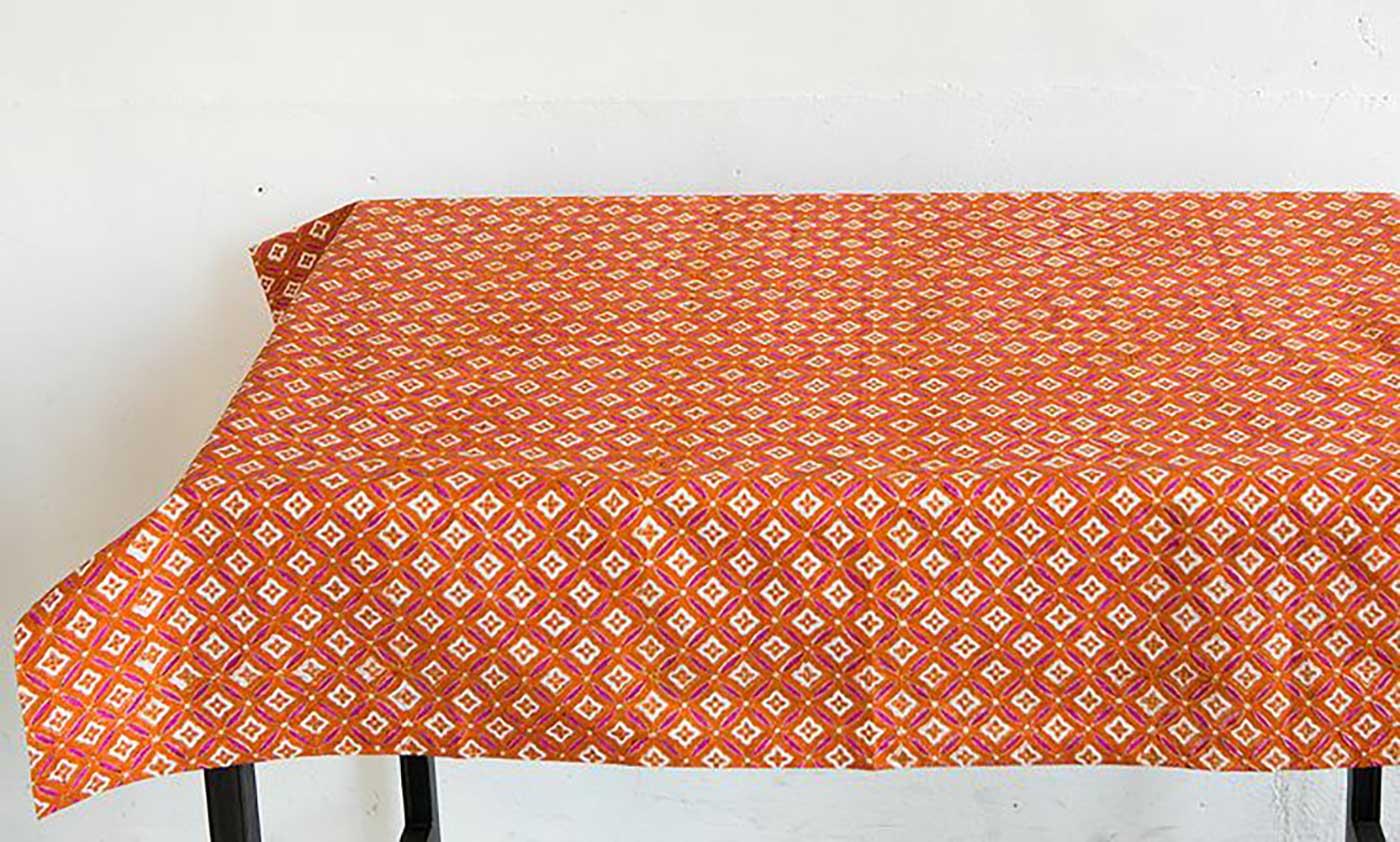 에스닉 블록프린트 테이블보A(오렌지)/생동감 넘치는 컬러의 아름다운 식탁 테이블보 상세이미지3