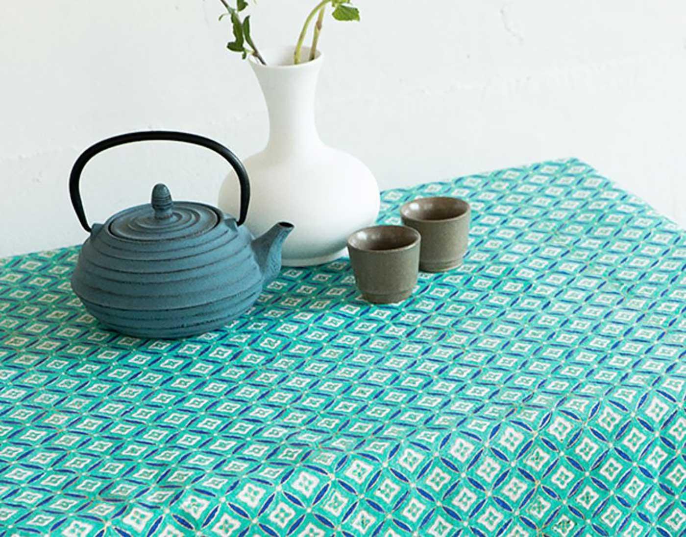 에스닉 블록프린트 테이블보A(민트)/생동감 넘치는 컬러의 아름다운 식탁 테이블보 상세이미지2