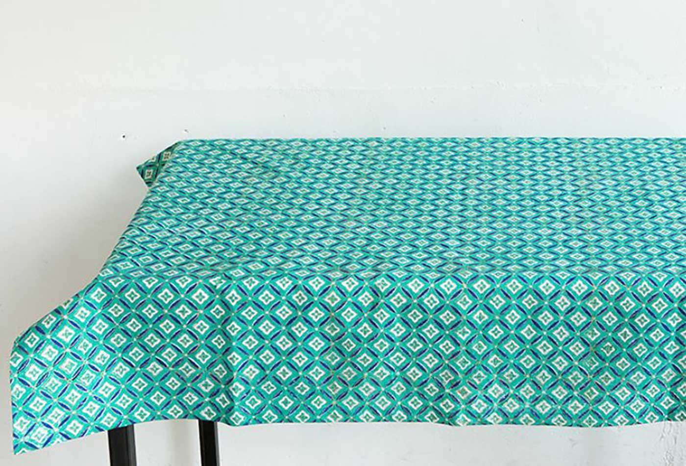 에스닉 블록프린트 테이블보A(민트)/생동감 넘치는 컬러의 아름다운 식탁 테이블보 상세이미지3