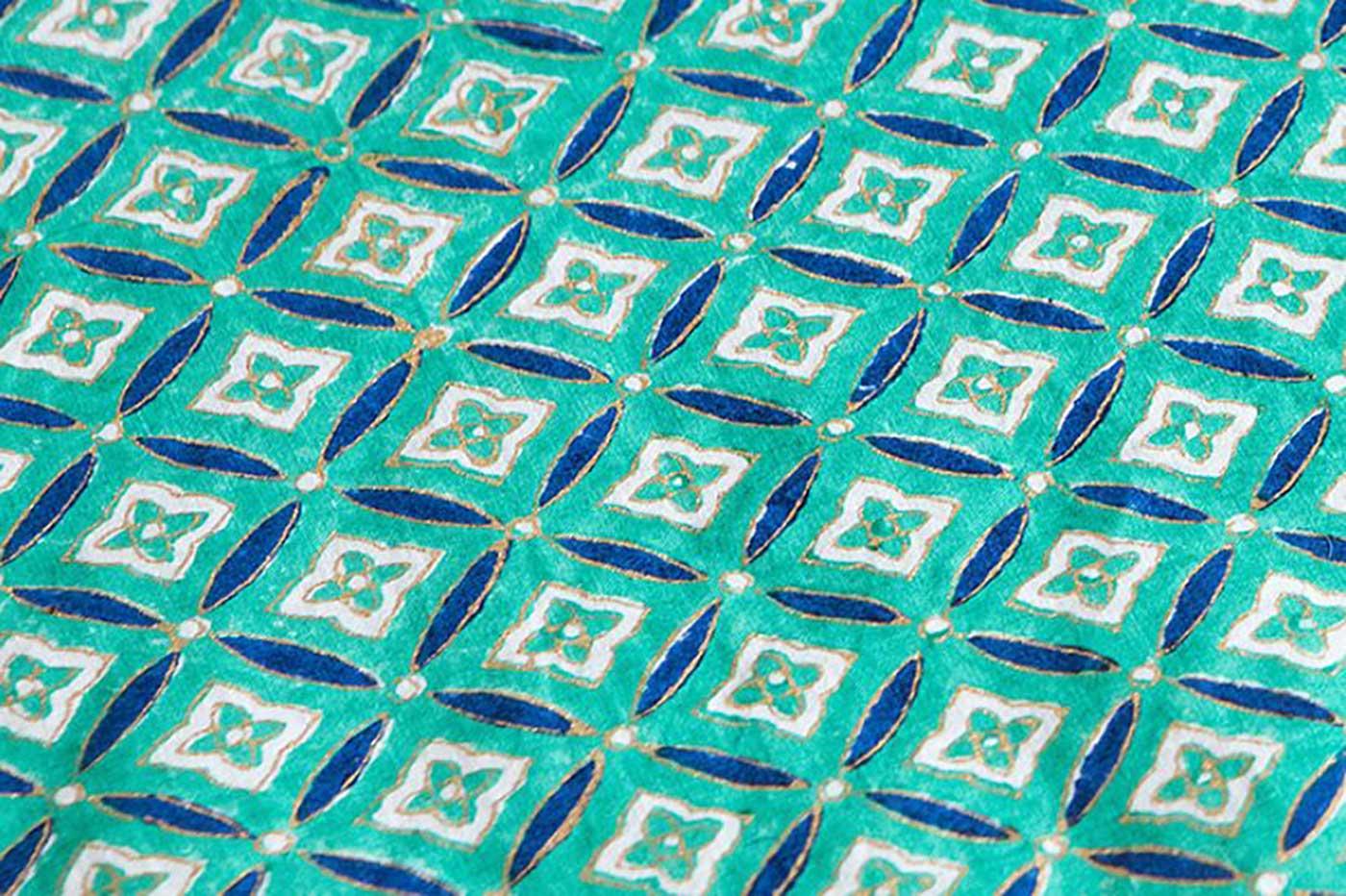 에스닉 블록프린트 테이블보A(민트)/생동감 넘치는 컬러의 아름다운 식탁 테이블보 상세이미지4