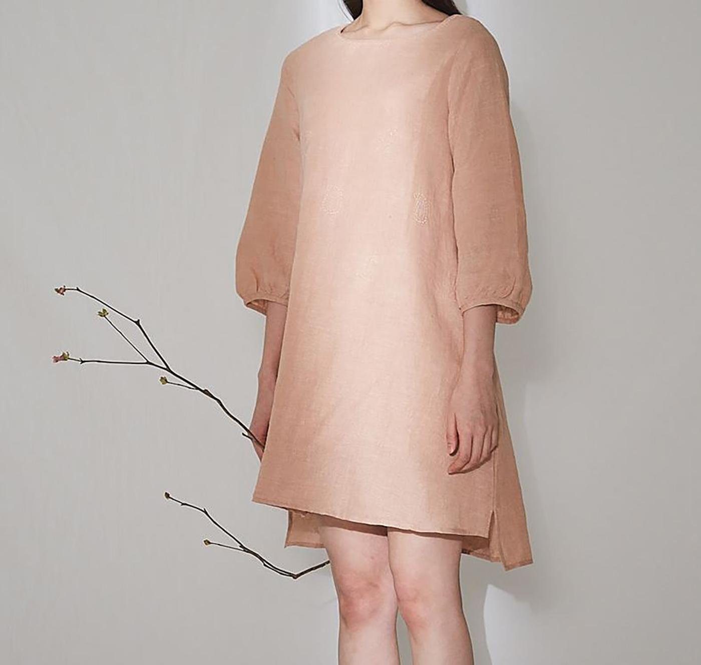 피치 치칸카리 드레스/심플하지만 사랑스러운 색감이 특징인 피치 치칸카리 드레스 상세이미지2