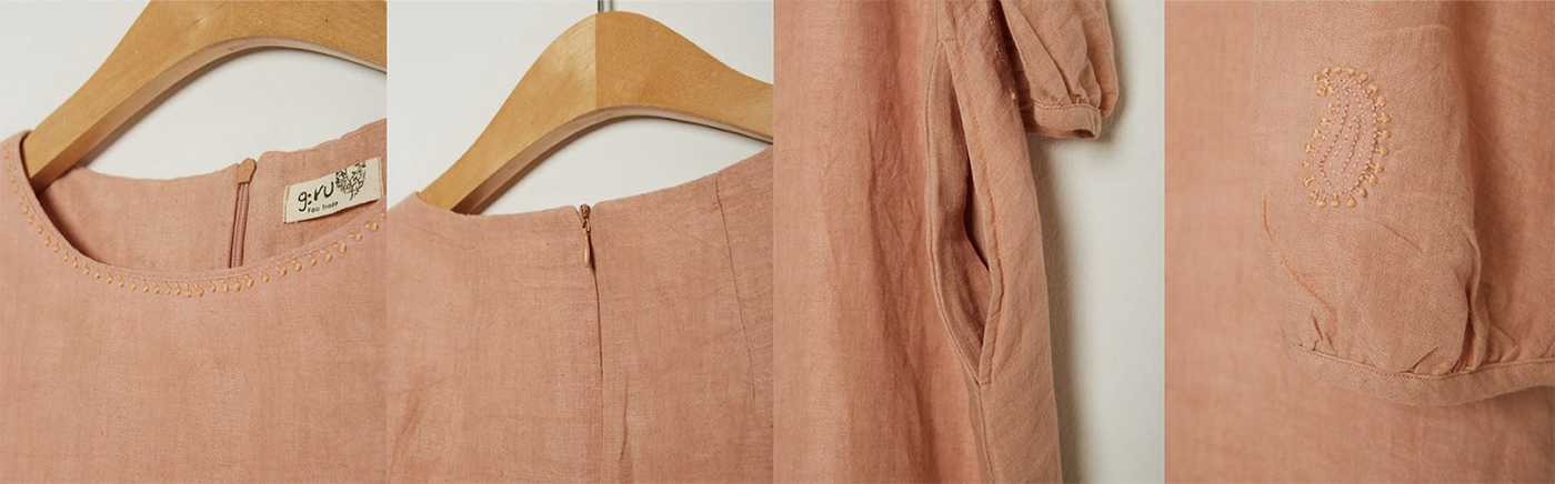 피치 치칸카리 드레스/심플하지만 사랑스러운 색감이 특징인 피치 치칸카리 드레스 상세이미지6