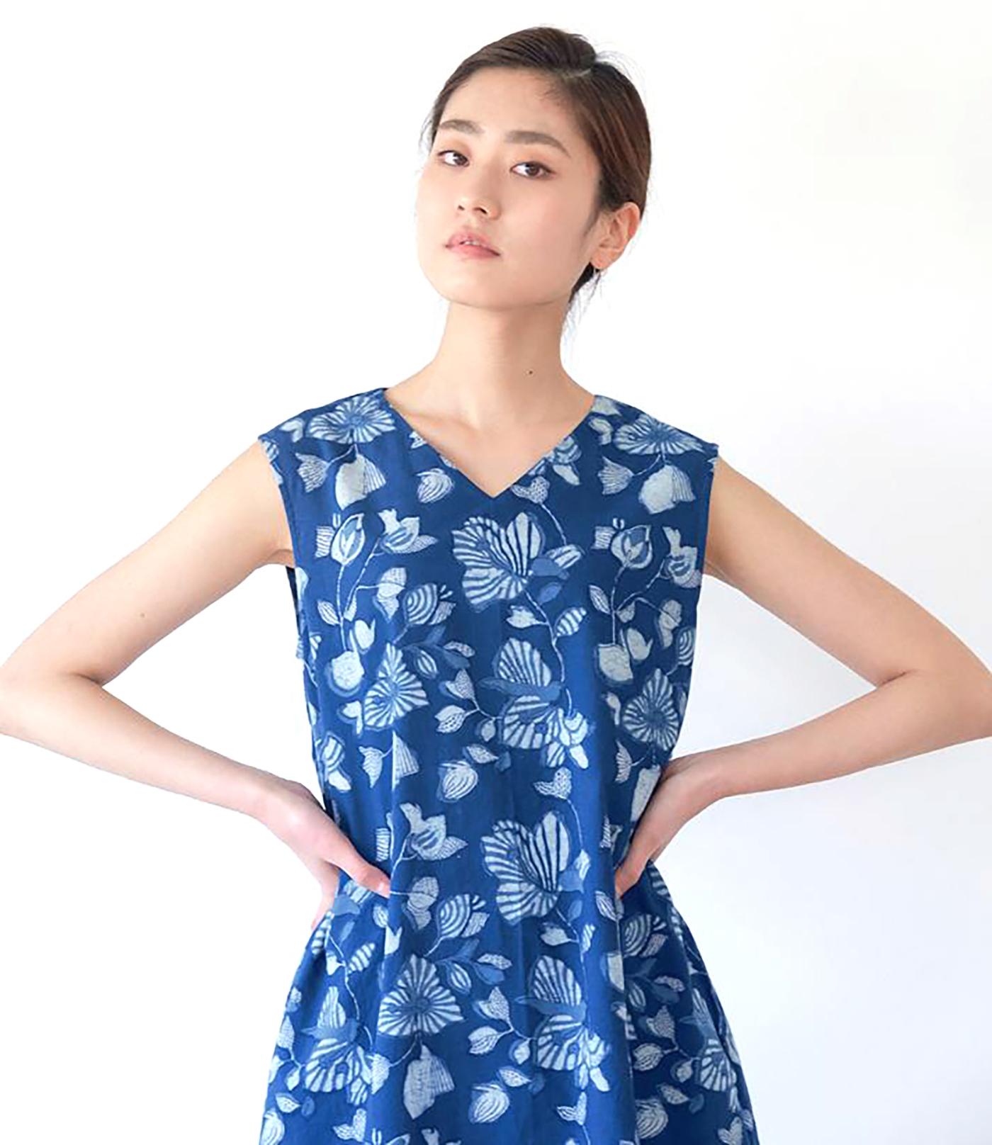 인디고 꽃 민소매 드레스/그루 인디고 꽃 민소매 드레스 상세이미지5
