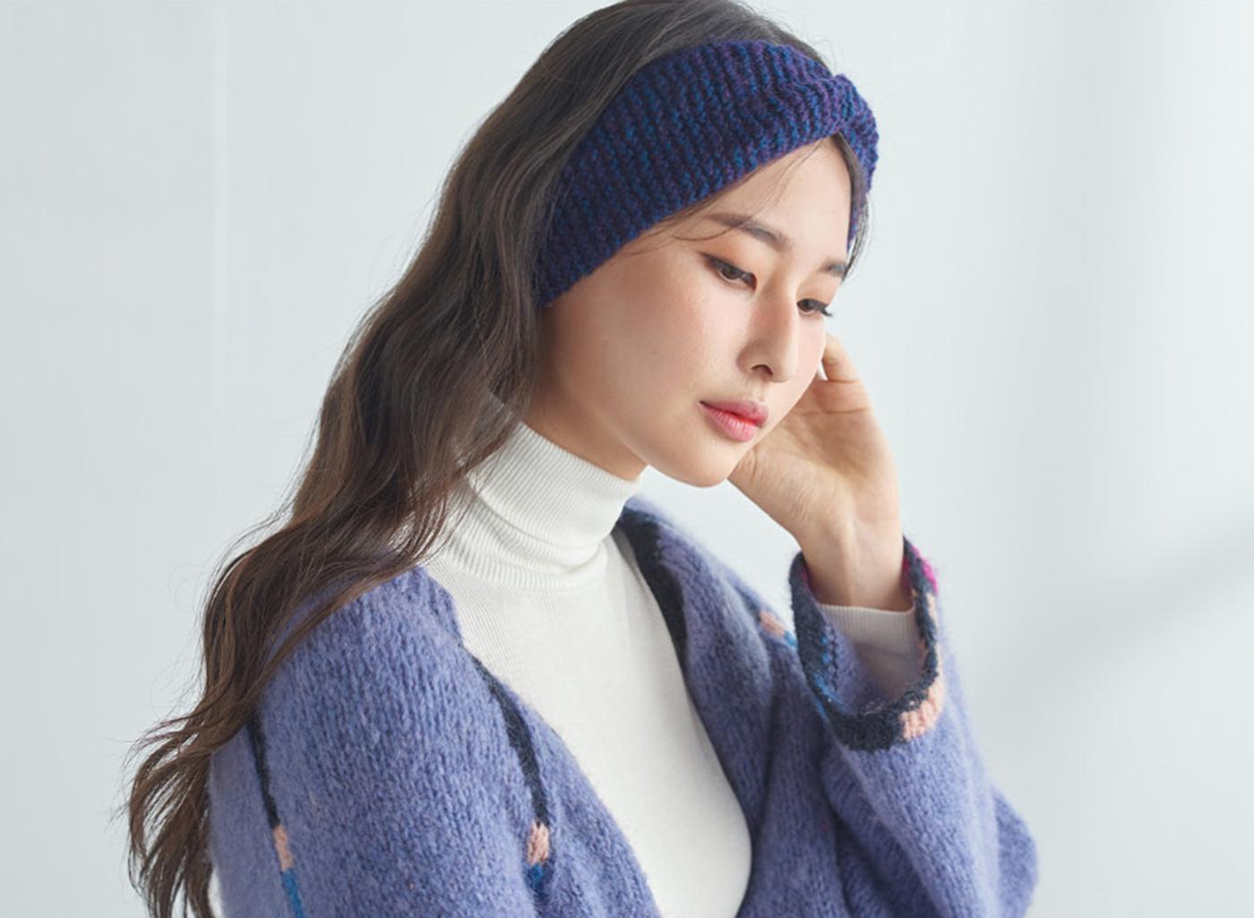핸드메이드 꽈배기 니트 헤어밴드 모자 상세이미지1