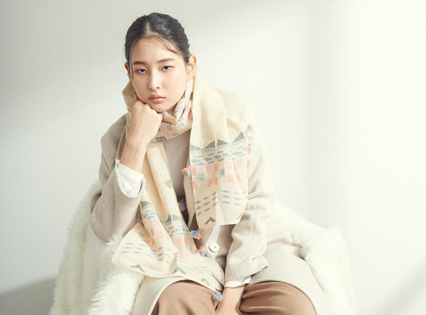 아티잔&아티스트 머플러(핑크/베이지) 상세이미지1