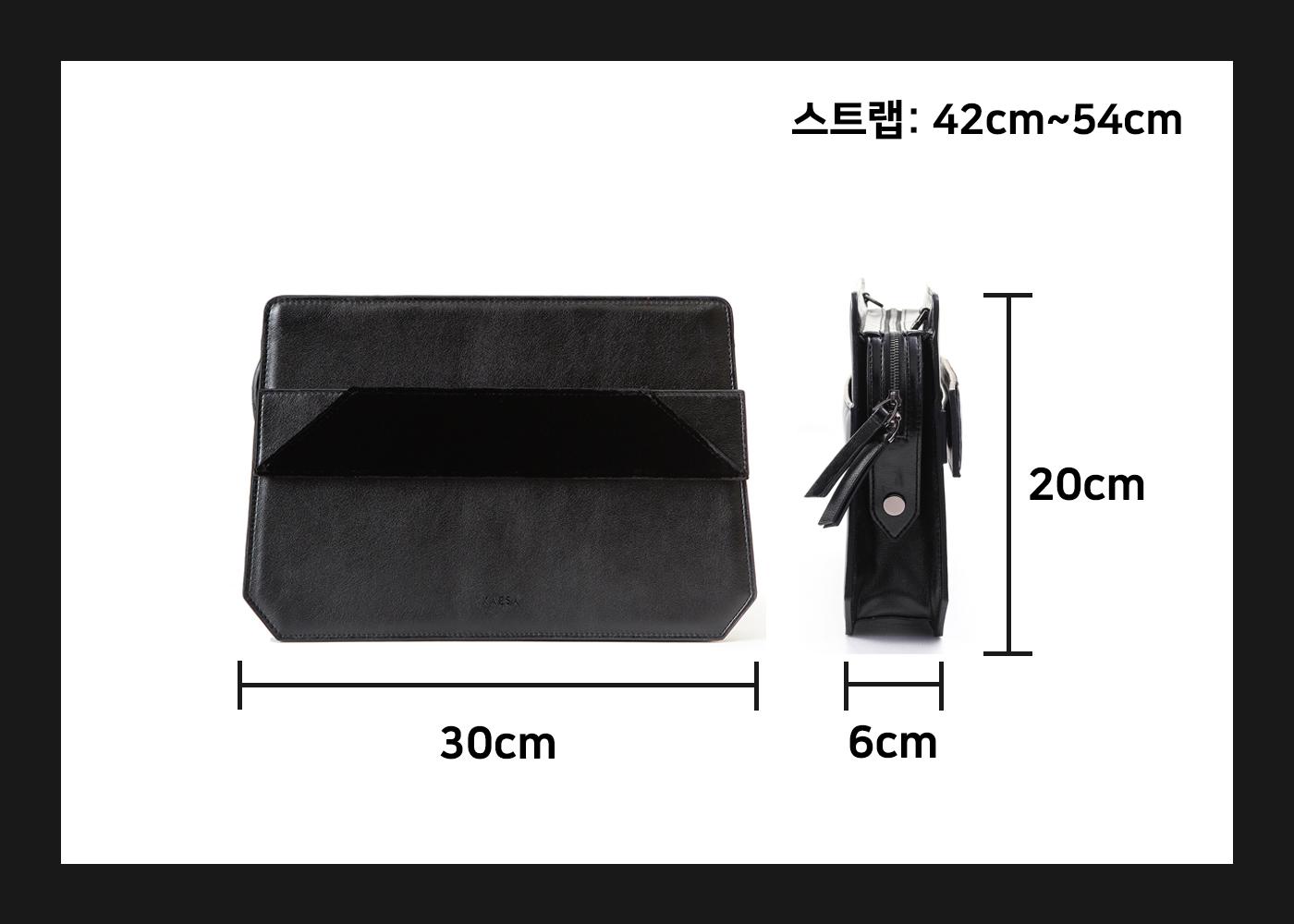 비건레더 VLLR 뉴욕 박스백(Black&Velvet) 상세이미지7