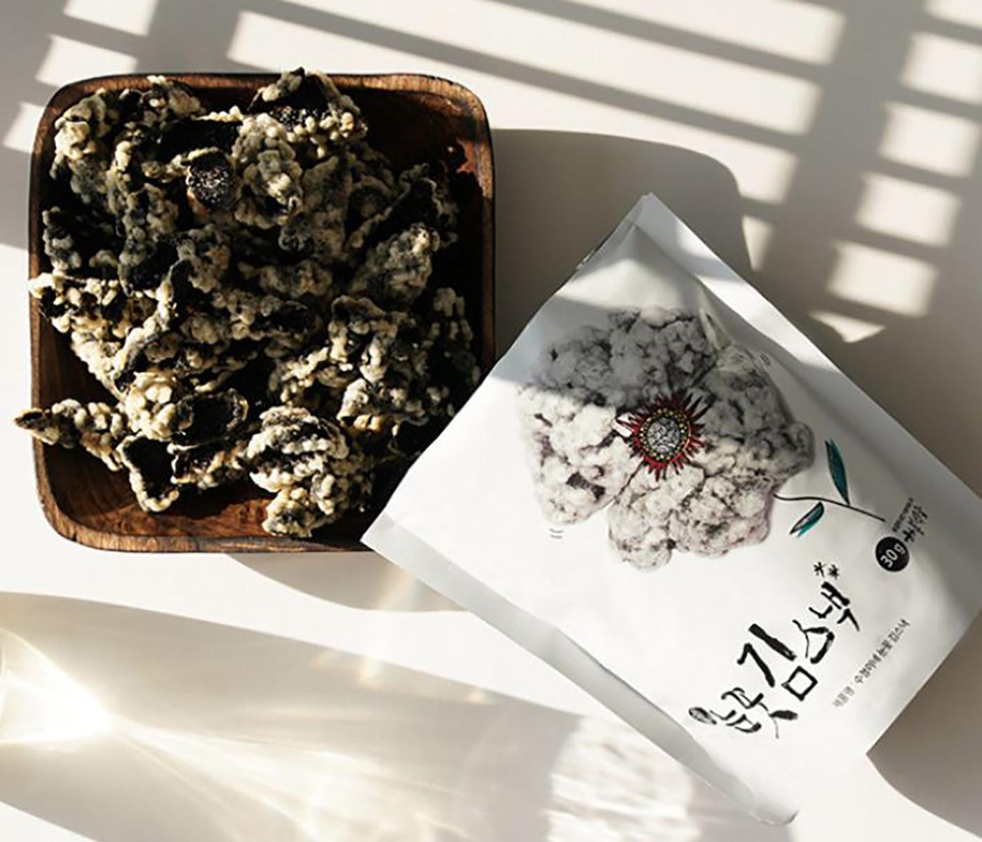 눈꽃 김스낵 선물세트/국내산 재료로 만든 영양 간식 저염 눈꽃 김부각 스낵(30g*10팩) 상세이미지1