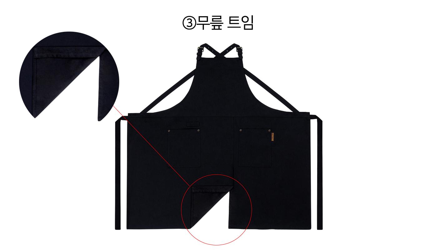 X자형 어깨 버클 블랙 심플 앞치마 상세이미지4