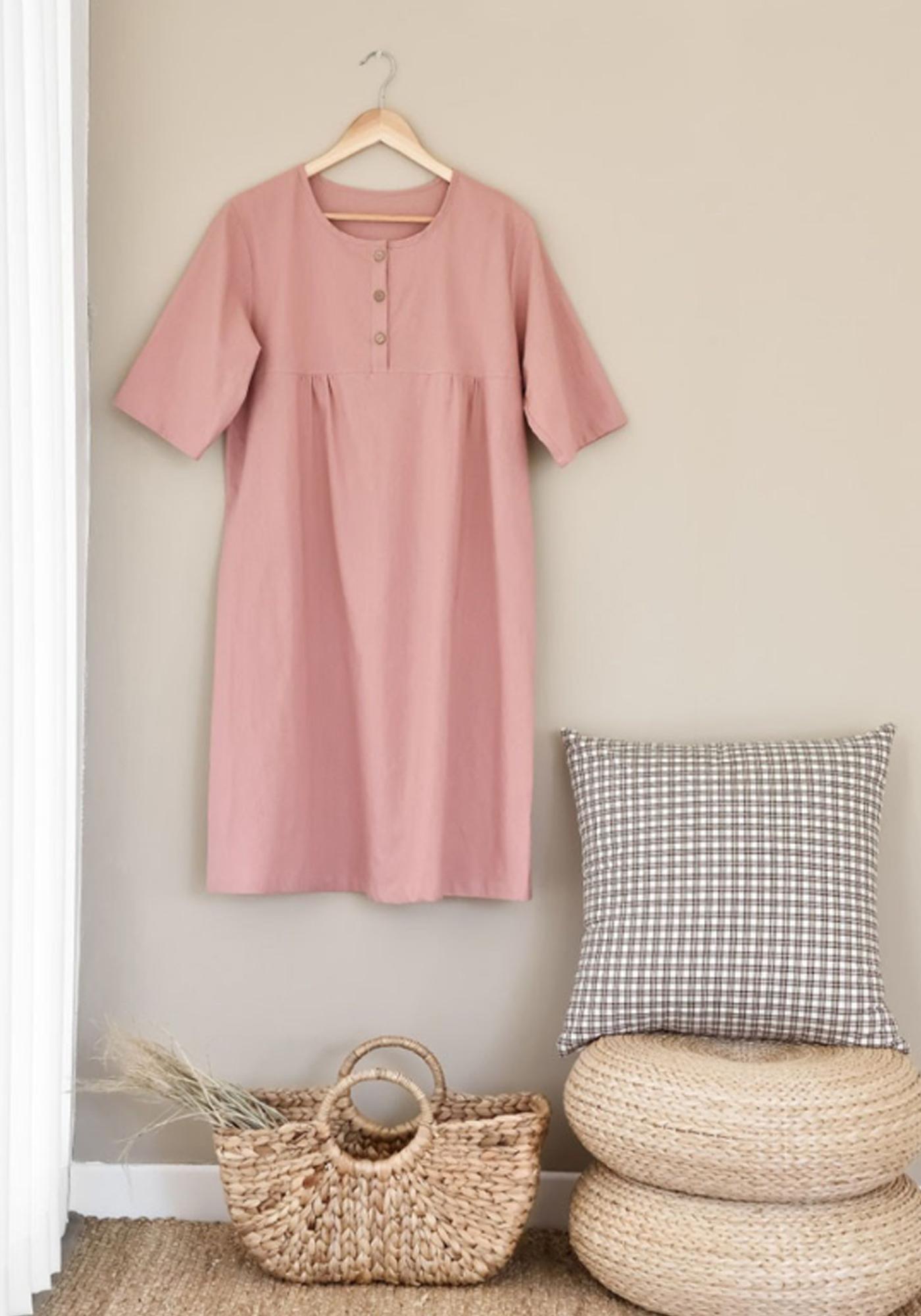 여성 광목 원피스 실내복(핑크)/실내복과 잠옷으로 활용하는 여성 홈웨어 원피스(핑크) 상세이미지1