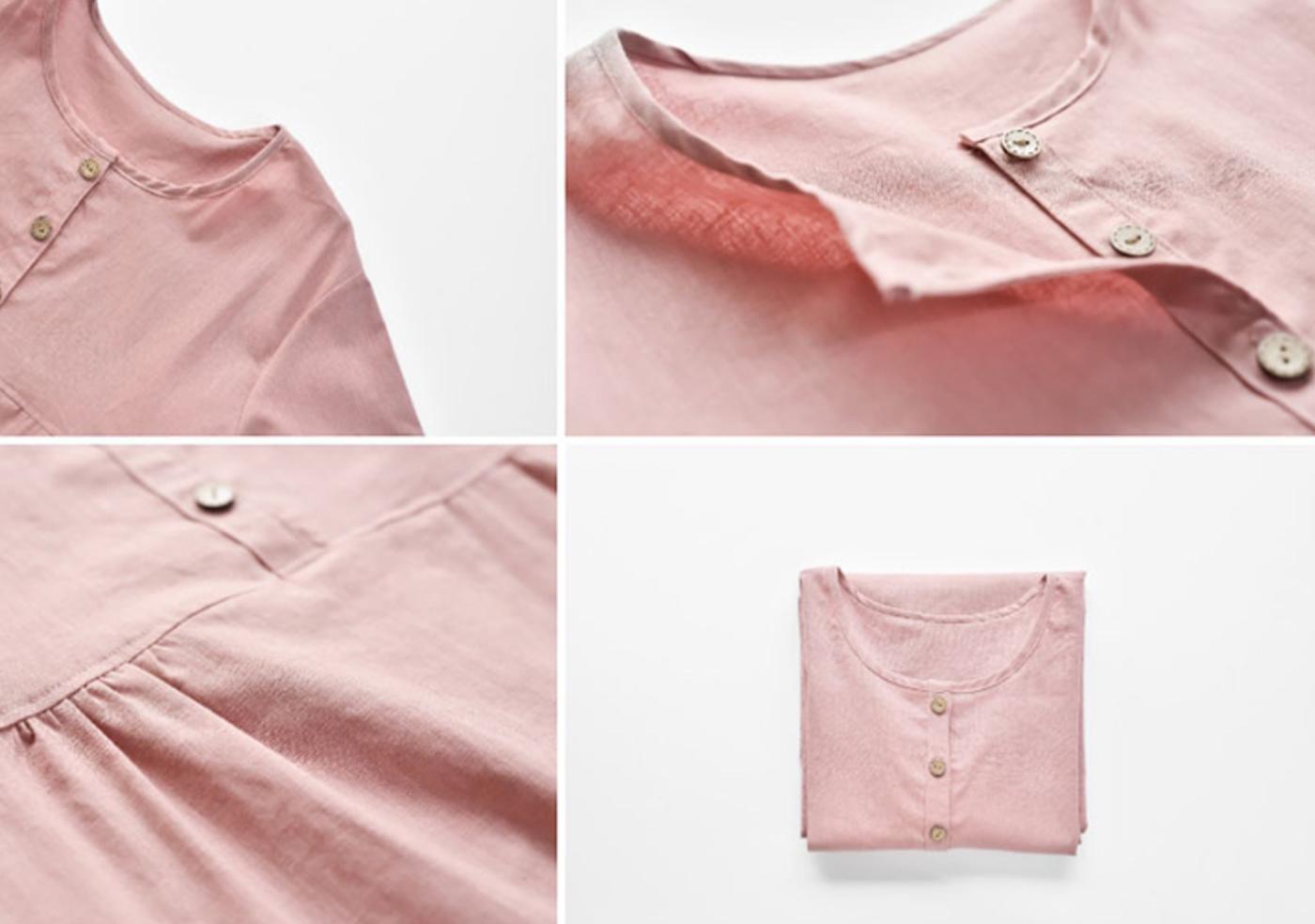 여성 광목 원피스 실내복(핑크)/실내복과 잠옷으로 활용하는 여성 홈웨어 원피스(핑크) 상세이미지4